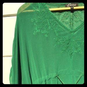 Green embroidery chiffon drape sleeve bow tie top